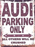 AUDI PARKING SIGN, RETRO-VINTAGE-STIL, 30,5 X 40,6 CM, GROSS, 30 X 40 CM