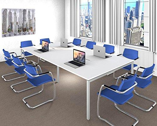 NOVA Konferenztisch 320x164cm weiß mit ELEKTRIFIZIERUNG Besprechungstisch Tisch