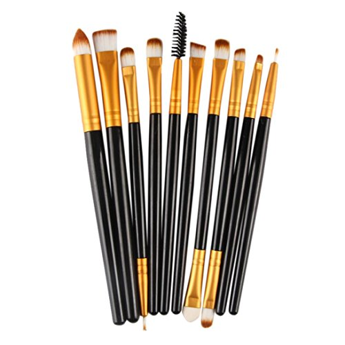 samLIKE 10 Stück Make up Pinsel Set Werkzeuge Make up Kultur Set Wolle Make Up Pinsel Set (Schwarz)