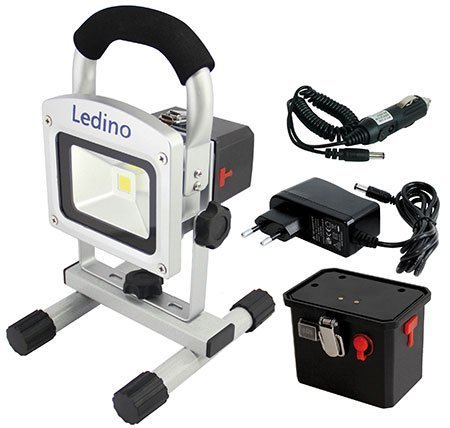 Ledino 10-W-Premium-LED-Akku-Fluter mit wechselbarem Akku und Werkstattkoffer