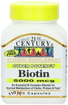 Biotin, 5000 mcg, 110 Capsules from 21st Century Health Care