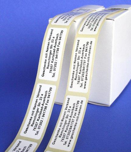 ADRESS-AUFKLEBER mit Wunschtext | mit blauer Schrift, 500 geprägte Adress-Etiketten, individuell mit Wunschtext, ca. 51 x 19 mm, für 1 bis 5 Zeilen, im Metallic-Look