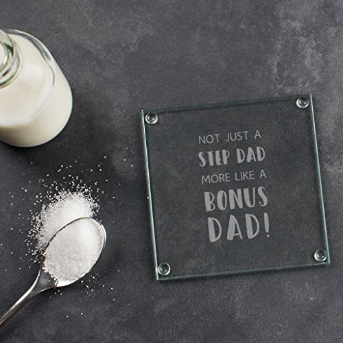 Square Glass Fathers Day Coaster Stepdad From Stepdaughter Stepfather Gifts Stepson Birthday