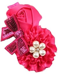 Ziory Pink Crown hairband Headband baby Girls toddler girls Pearl Rose Flower Hair Band Chiffon Lace Headband Ribbon Elasticity Hair Accessories Headwear