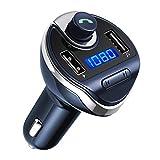 Criacr Transmetteur FM Bluetooth, Kit de Voiture Mains Libres, Chargeur Allume Cigare, Sans Fil Chargeur USB de Voiture, Lecteur MP3 avec Micro, 2 USB Port 5V/2.1A et 1A (Bleu)