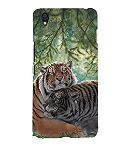 Fuson Premium Back Case Cover Tiger With brown Background Degined For One Plus X::One + X