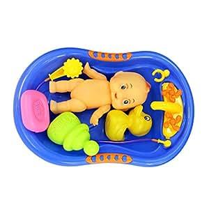 Imported Blue Plastic Bathtub with Baby Doll Bath Toy Set-57001969MG