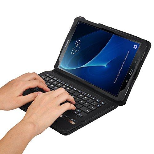 ELTD Samsung Galaxy Tab A 10.1 Tastatur, Detachable Bluetooth Tastatur (QWERTZ Tastatur) mit Standfunction Für Samsung Galaxy Tab A 10.1 T580N / T585N (2016), Schwarz