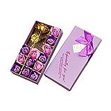 Txyk 12Pcs Rose Savon Décoratifs Parfumé Bain Fleur Bouquet Fleur d'or Boîte Cadeau pour Anniversaire/Mariage/Jour/La Fête De Saint Valentin.-Pourpre
