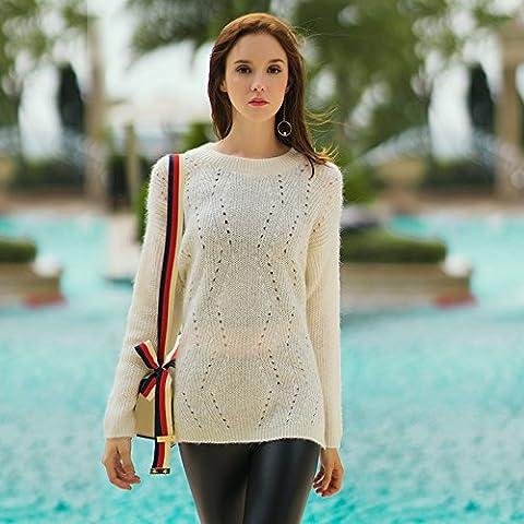 ZH AH suéteres de las mujeres camisa de la cartilla de la moda de punto , white , m