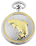 Elegante Taschenuhr Weiß Gold Fisch Metall Analog Quarz Herrenuhr