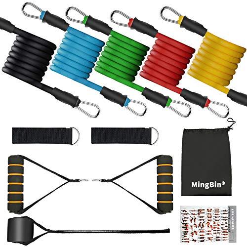 MingBin Resistance Bands Widerstandsbänder Set,Fitnessbänder Set Gymnastikband mit 5 Trainingsbänder,Türanker, Griffen, Knöchelriemen,Ideal für Krafttraining, Muskelaufbau, Yoga, Pilates