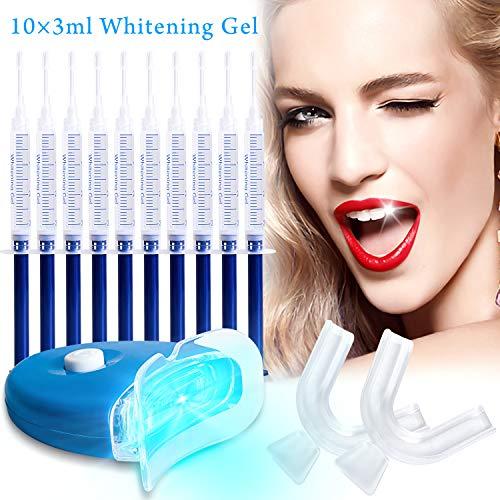Professional Teeth Whitening Kit, Zahnaufhellungsgel, Home Teeth Whitening Kit, Effektiv Zahnaufhellung zu gelben Zähnen und Rauchflecken Schwarze Zähne, 10x Zahnaufhellung 2x Zahnschalen Gel