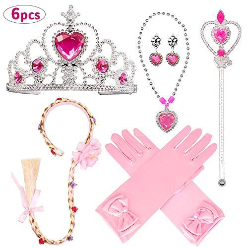 Aperil Prinzessin Kostüm Set für Mädchen Party Dress Up Zubehör mit ELSA Handschuhen Zauberstab Halskette Ring Ohrring Blume Stirnband für Mädchen Geburtstag Geschenk Alter 3-9 ()