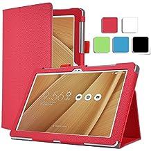 Alta calidad KuGi del multi-ángulo soporte Slim-Libro Funda de piel sintética para Asus Zenpad 10 Z300C tablet. negro For Asus Zenpad 10 Z300C (Red)