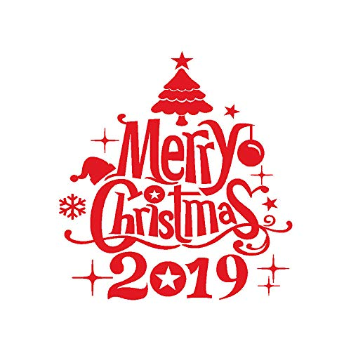 Fenverk 2019 Neujahr FröHliche Weihnachten Wand Aufkleber Zuhause GeschäFt Windows Abziehbilder Dekor Glocke Hirsch Entfernbar Kunst Fenster TüR Dekoration Schneeflocke Geschenk (Red)