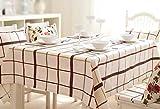 S&H Mantel Rural moderno de tamaño completo mesa de café fresco de cuadrícula simple mesa de comedor rectangular beige/marrón de tela impermeable y a prueba de fugas de aceite (Tamaño: 130x180cm)