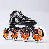 Giow Inline-Skates, Speed Skates Für Damen Und Herren Kohlefaser Pu-Rad,Black,43