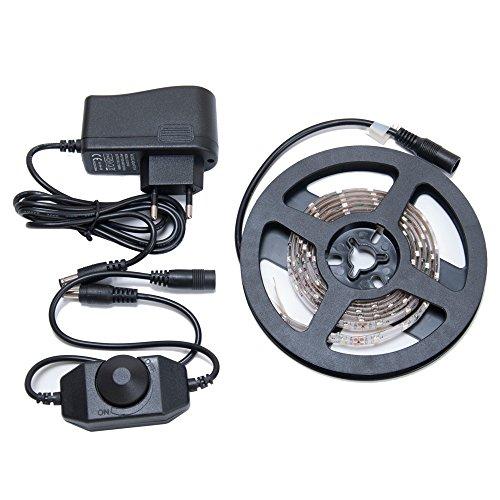 1.5M Flexible LED Streifen Warmweiss 3528 90 LEDs (60LEDs/M) Wasserdicht IP65 mit Netzteil Adapter 12V 1A und 4A Dimmer Lichtschalter Switch Heiligkeit Regler Kyodoled