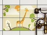 creatisto Fliesen überkleben | Motiv-Folie Sticker Aufkleber Badezimmerfolie Dekorfolie Badezimmergestaltung | 20x15 cm Design Motiv Mountain Giraffe - 4 Stück