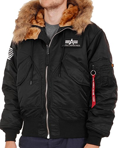 Alpha Industries Herren Winterjacke 45P Hooded Custom, Schwarz, Gr. L