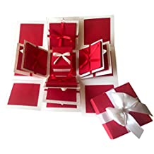 Crack of Dawn Crafts 3 Layered Romantic Explosion Box - Red Love