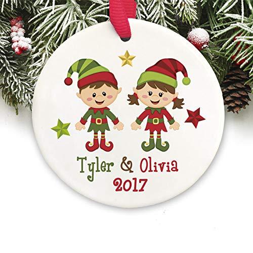(Dozili Personalisierbare Weihnachtsdekoration für Zwillinge Geschwister, Weihnachtsdekoration, Geschenk)