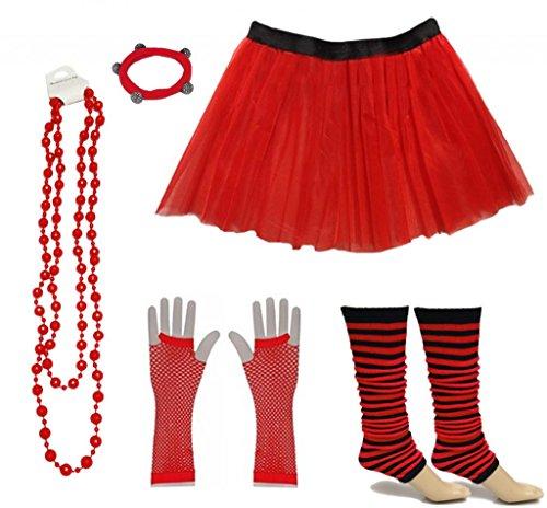 tüm 80er Jahre Neon Tutu Streifen Beinstulpen Fischnetz Handschuhe Tüllrock Karneval Tüll Damen Fluo Ballett Verkleidung Party Tutu Rock Kostüm Set (36-44, Rot) ()