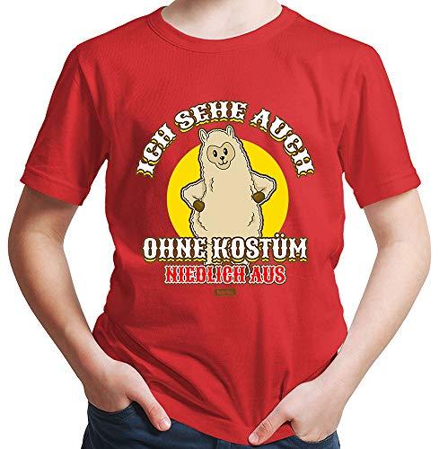 HARIZ  Jungen T-Shirt Ich Sehe Auch Ohne Kostüm Niedlich Aus Lama Karneval Verkleidung Inkl. Geschenk Karte Rot 152/12-13 Jahre