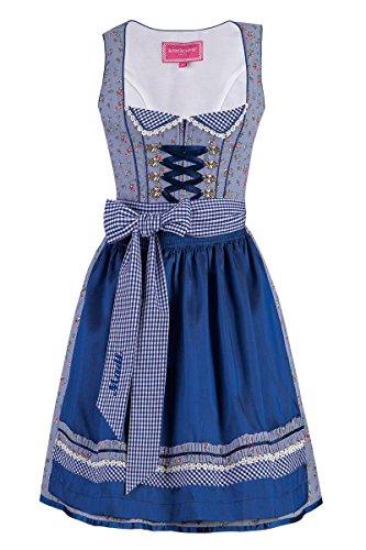 Krüger® Damen Mini Dirndl 50er blau-geblümt Elisa 001690, Größe 32