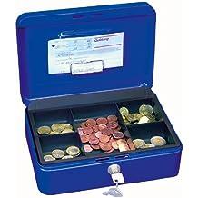 Wedo 145303H - Caja metálica para dinero (2 llaves, soporte para monedas desprendible, acero soldado, 25 x 18 x 9 cm), color azul