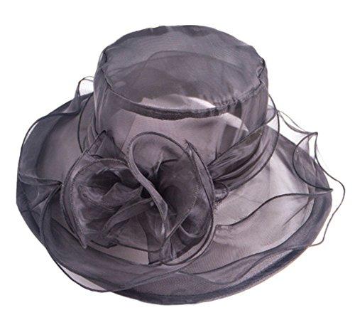 Leisial Damen Chiffon Sonnehüte Flexible Sommer Strand Hüte Faltbar Anti UV Hüte mit Große Blume,Schwarz (Damen Hut Sonne)