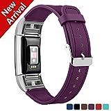 Fitbit Charge 2 Bracelet en cuir, Kutop Bande de Remplacement Réglable Sangle Rechange avec Métal Connecteurs Accessoires pour Fitbit Charge 2,Violet