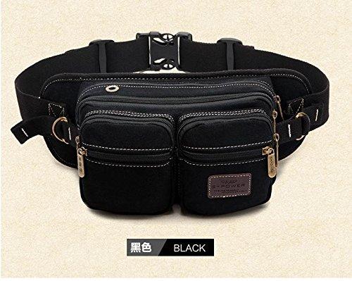 ZYT Multifunktionale Taschen Leinwand Mann Tasche Brust für Männer lässig Schulter Messenger Taschen outdoor Sport Welle Black