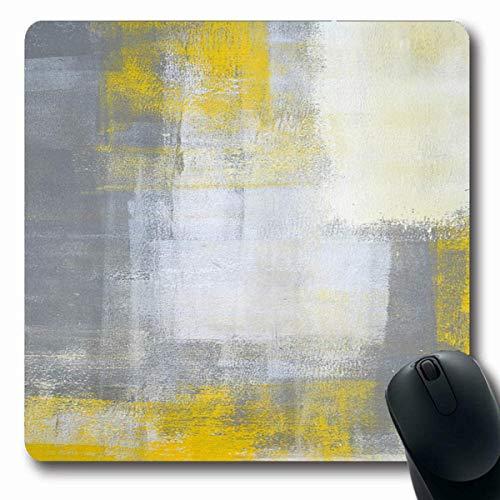 Luancrop Mousepads Malerei Grau Modern Grau Gelb Abstrakt Blocks Zeitgenössisch Rechteck Galerie Design rutschfeste Gaming-Mausunterlage Gummi Längliche Matte -