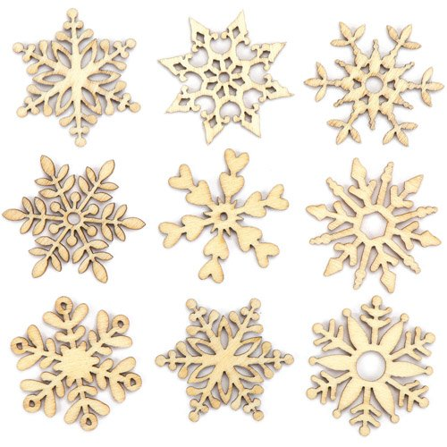Baker Ross Mini-Schneeflocken aus Holz - Kreatives Bastelmaterial für Kinder für weihnachtliche Bastelarbeiten und Dekorationen (45 Stück)