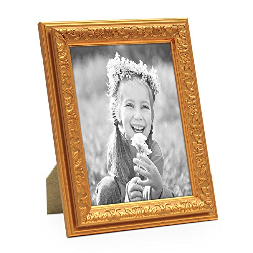 PHOTOLINI Bilderrahmen Antik Gold Nostalgie 15x20 cm Fotorahmen mit Glasscheibe/Kunststoff-Rahmen