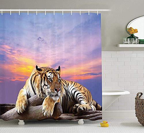 prz0vprz0v Safari Decor Shower Curtain Set, Tiger Lying On Wood Branch Blue Sky Colorful Sunset Pose Strpies Claws, Bathroom Accessories, 72W x 79L Inch Bath Curtains Extra