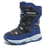 GUBARUN Jungen gefütterte Schneestiefel Outdoor Warm Winterstiefel Winter Wasserdicht Stiefel für Unisex-Kinder: Gr. 34 EU/ Herstellergroße- 35, Blau
