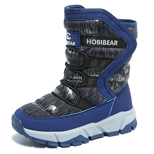 GUBARUN Jungen gefütterte Schneestiefel Outdoor Warm Winterstiefel Winter Wasserdicht Stiefel für Unisex-Kinder: Gr. 24 EU/ Herstellergroße- 25, Blau