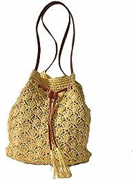 GTVERNH-Bolso De Paja Tejida A Crochet Tejido Bag Beach Bag Gama Alta Solo Hombro