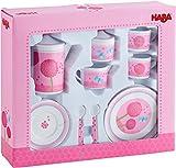 Haba 303736 - Spielgeschirr Pusteblumentraum | Melamingeschirr für Kinder | 2 Teller, 2 Tassen mit Untertassen, 2 Löffel, Kaffeekanne, Milchkännchen und Zuckerdose | Spielzeug ab 3 Jahren