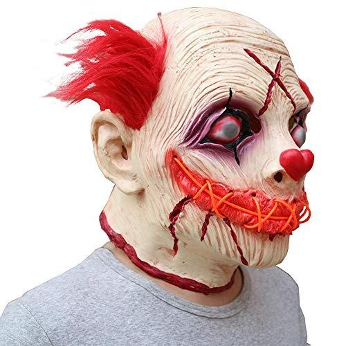 advancethy Halloween Maske LED Leuchtende Clown Maske Latex Kopfbedeckung Halloween Horror Requisiten