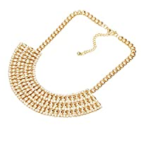 YAZILIND 18K Gold Plated Chain Crystal Rhinestone Bib Choker Chunky Statement Necklace for Women Jewelry