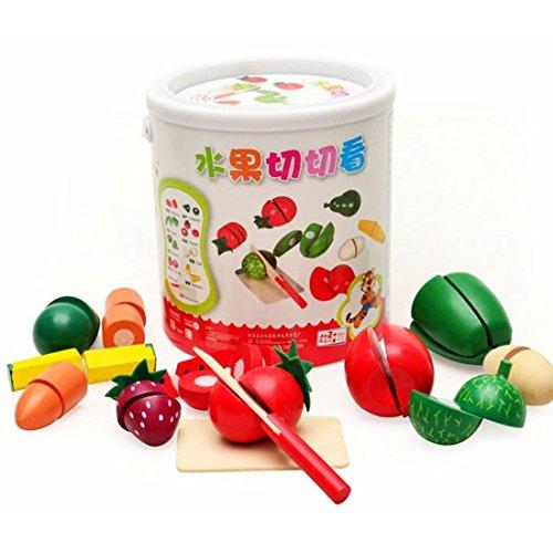 Kleinkindspielzeug, iTECHOR Holz Gemüse Obst Küche Cutting Toy frühe Entwicklung und Ausbildungs Spielzeug Kleinkinder Rollenspiele Spielzeug Bildung Spielzeug mit Tragbaren Barre