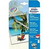 Avery España C2495-45R - Pack de 45 folios de papel fotográfico brillante para impresoras de inyección de tinta, 130 x 180 mm, color blanco