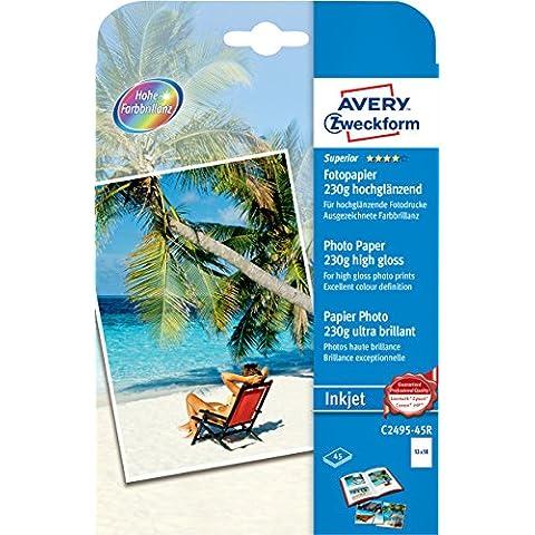 Avery España C2495-45R - Pack de 45 folios de papel fotográfico brillante para impresoras de inyección de tinta, 130 x 180 mm, color