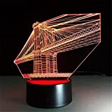 H&M Kreativ Kristall-Brücke Schreibtischlampe 3d 7 Farben ändern Noten-Schalter Fernbedienung Tabelle LED-Licht-Nachtbeleuchtung Hauptdekoration Haushaltszubehör