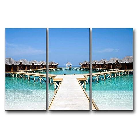 Leinwanddruck Bild Malediven Strand Brücke Häuser klares Wasser 3Stück Gemälde Moderne Giclée-gespannt und gerahmt Artwork Öl der Seascape Bilder Foto Prints auf Leinwand