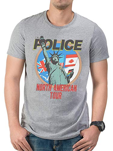 The Police Sting American Tour Stewart Copeland Oficial Camiseta para Hombre (Large)